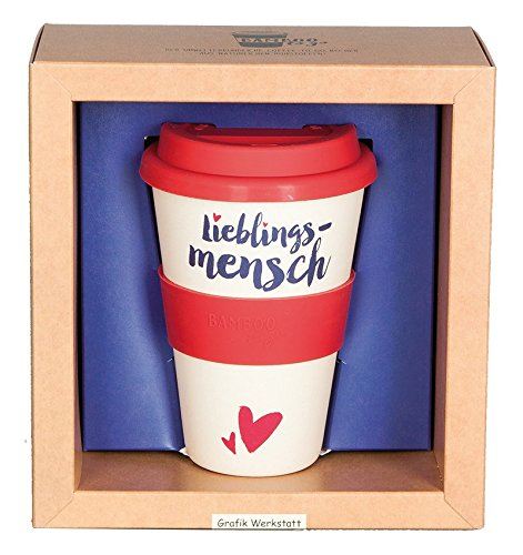 Grafik Werkstatt Bambus-Becher mit Deckel | Kaffee-Tasse | Coffee 400 ml | Bamboo-to-go | Lieblingsmensch, beige, 6 x 9 x 14 cm