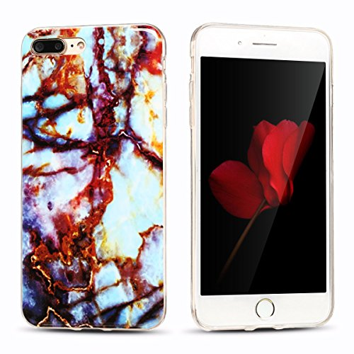 iphone 7 plus Hülle, Marmor Design Muster TPU Dünn Silikon Schutzhülle für iphone 7 plus , E-lush Kristallklar Durchsichtig Kratzfeste Handyhülle Ultra Chic Thin Weich Schutzhülle Rückschale Etui Bump braun