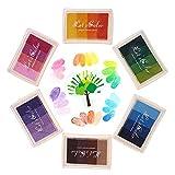 Funxim 24 Farben Stempelkissen Set, Fingerabdruck Stempelkissen Ungiftig Abwaschbar Tinte Stamp Pad für Papier Handwerk Stoff Malerei DIY Geburtstag Geschenk (6 Pack)