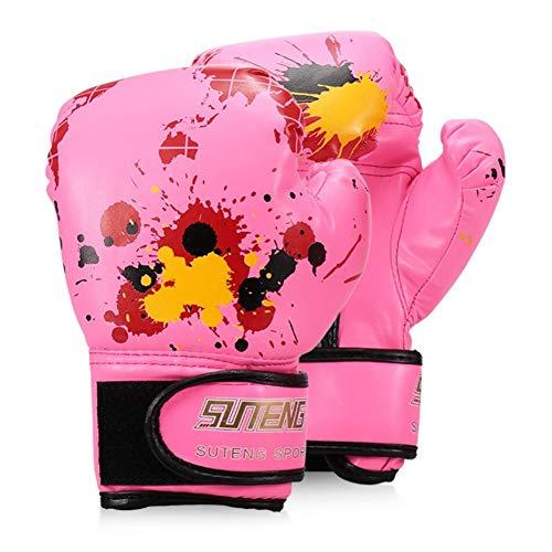 ERHUAN Jungen/Mädchen Boxhandschuhe Leder Boxtraining Schutzhandschuhe Für Kinder Kampf Boxhandschuhe Sicherheitsausrüstungen,Rosa,