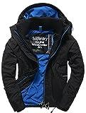 Superdry Pop Zip Hooded Arctic WINDCHEA, Abrigo Impermeable para Hombre, Negro (Black/Denby BlueJHP) S