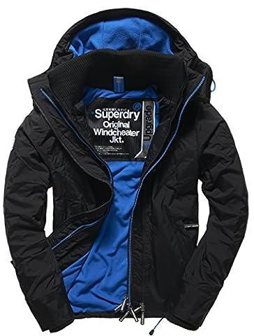 SUPERDRY Herren Jacke Pop Zip Hooded Arctic Windchea, Schwarz (Black/Denby Bluejhp), XL
