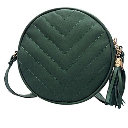 Hunpta Frauen Tassel Schultertasche aus Leder Tasche Handtasche Shopper Messenger Umhängetaschen Grün