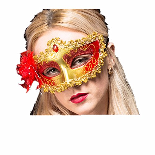 Maskerade,Maske Mädchen Kind Prinzessin Party Requisitengesicht Make-up Tanz Maske Halbes Gesicht Rosenrot Masquerade