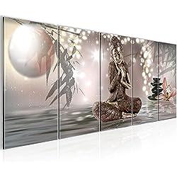 Cuadros de 200 x 80 cm - Cuadro de Buda - Cuadro en lienzo no tejido - Imagen artística en lienzo para la pared - Impresión de arte – Imagen para la pared – Formato XXL –Más colores y tamaños en la tienda – ¡¡¡Totalmente estirados!!! ¡¡¡100 % FABRICADOS EN ALEMANIA!!! - 503455a