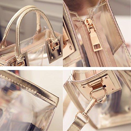 OURBAG Donne Chiaro Borse a maniglia superiore PVC Impermeabile Borsa a tracolla Con sacchetto cosmetico bianca Oro