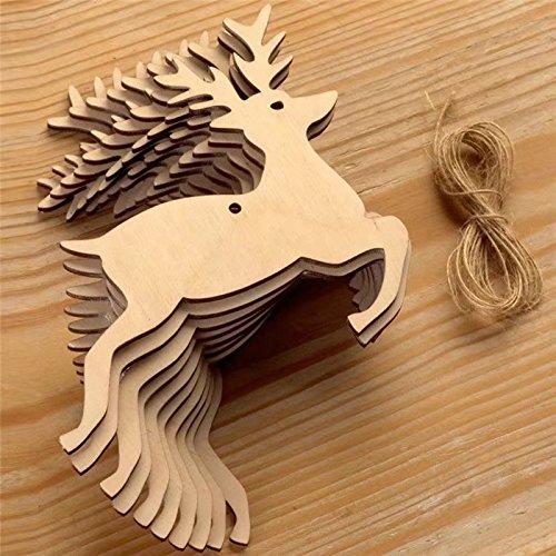 ricisung 10Christmas Ornaments Weihnachten, Holz Formen blanko Dekoration für Bäume, Style-A