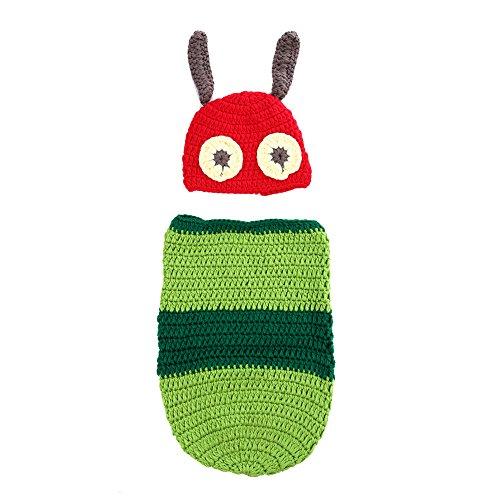 Newborn Baby Worm Sleeping Bag Crochet Knit Costume Photography Prop