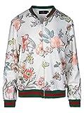 Zwillingsherz Sommer Jacke mit Blumen Print - Hochwertige Strickjacke für Damen Mädchen - Blouson - streetwear - Bomber - Sweatshirt - Blazer mit Reissverschluss für Frühling Herbst und Winter