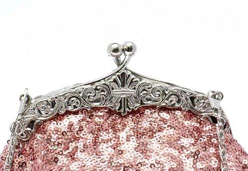 KAXIDY Exquisite Seed Bead Pailletten Partei Clutch Abendtasche Geldbeutel-Abend-Handtasche Rosa