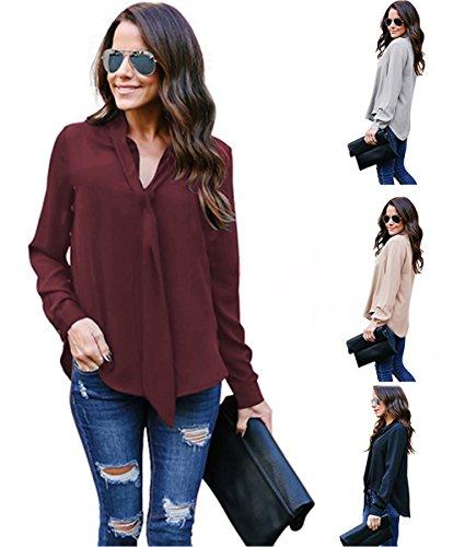 Minetom Signora OL Chiffon Camicia Donna Elegante Maniche Lunghe Bluse  Maglia Casual Shirt Sexy V Scollo Tops Primavera Estate Cachi IT 40 428949f59a7