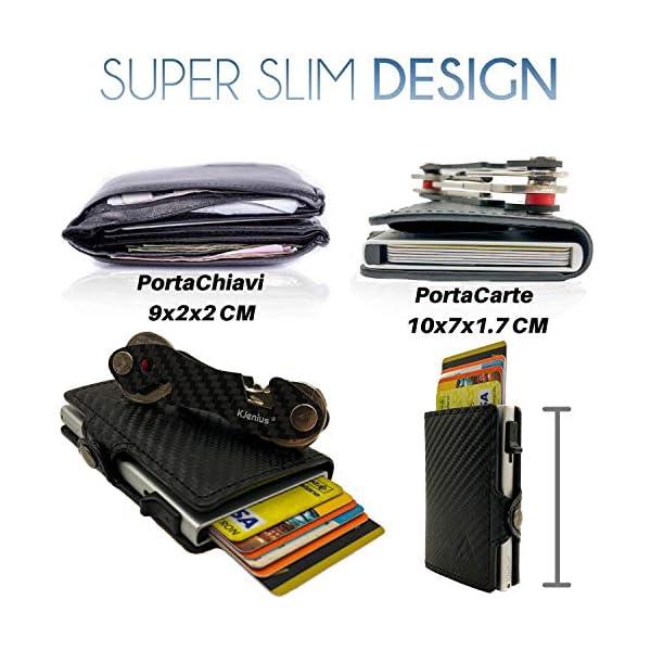 Portafoglio Porta Carte Di Credito Uomo Donna Pelle Fibra Di Carbonio Protezione RFID NFC Antifrode Sottile Slim Zip… 4 spesavip