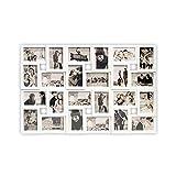 DRULINE Bilderrahmen Fotorahmen Fotocollage für 24 Fotos aus Kunststoff zum aufhängen | 86 x 57 cm | Weiß