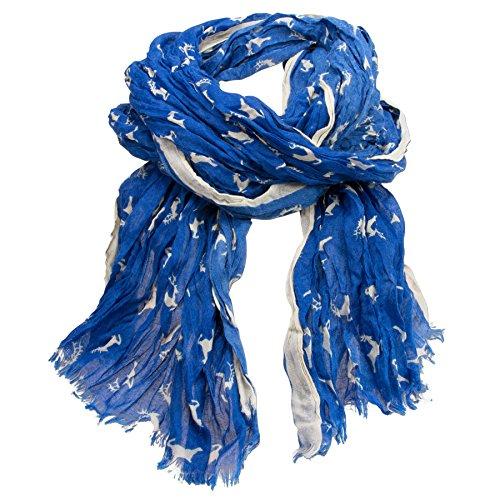 Alpenflüstern Alpenflüstern Crush-Trachtenschal Springende Hirsche blau ATX038