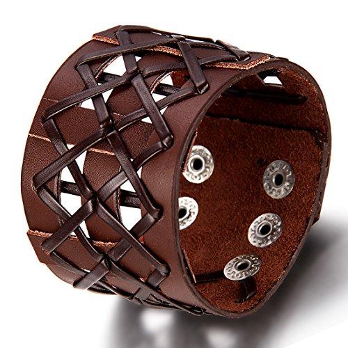 Flongo Bracelet Alliage Cuir Leather Corde Menotte Grand Large Creux Tressé Enveloppez Punk Rock Fantaisie Bijoux Cadeau Couleur Noir Brun pour Homme brun