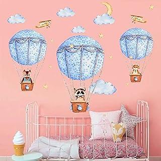 WandSticker4U- XL Wandtattoo Babyzimmer GUTE REISE | Wandbild: 140x80 cm | Heißluftballon Waschbär Fuchs Mond Sterne Wolken Flugzeug Wandaufkleber Tapete Poster | Deko für Kinderzimmer Kinder Baby