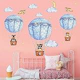WandSticker4U- XL Wandtattoo Babyzimmer GUTE REISE Blau I Wandbilder: 140x80 cm I Wandaufkleber Heißluftballon Wolken Mond Sterne Flugzeuge Tiere Fuchs I Deko für Kinderzimmer Kinder Baby Junge