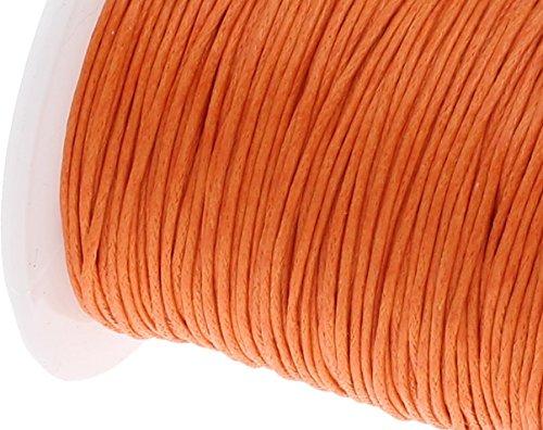 Perlin – 75 m Gewachste Baumwollekordel Orange 1mm Gewachst Schmuck Schnüre Wachs Fäden ideal zur Schmuckherstellung C169