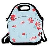 FutongHuaxia rot Blume. Leicht Outdoor Lunch Bag Lunch Box Isoliert Tote Kühler Lunch Tasche Picknick Tasche Lunch Tote, für Schule Arbeit Büro, Geschenk für Frauen Einheitsgröße Schwarz