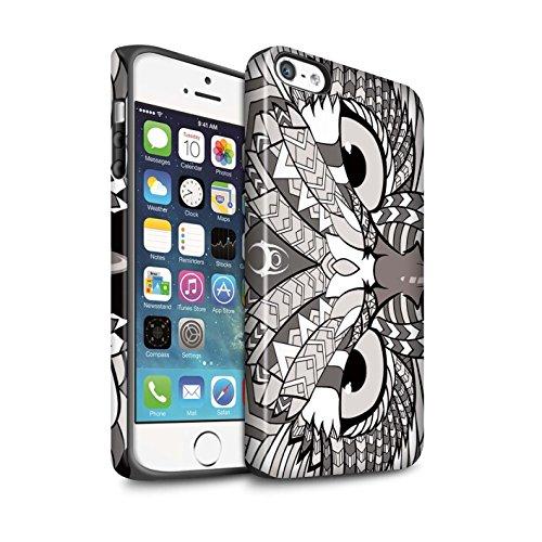 STUFF4 Matte Harten Stoßfest Hülle / Case für Apple iPhone 5/5S / Elefant-Grün Muster / Aztec Tier Muster Kollektion Eule-Mono