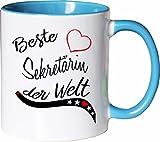 Mister Merchandise Becher Tasse Beste Sekretärin der Welt. Kaffee Kaffeetasse liebevoll Bedruckt Beruf Job Arbeit Weiß-Hellblau