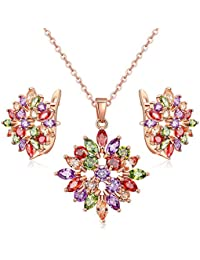 Jewels Galaxy Copper Jewellery Set for Women (Multicolor)(SMNJG-CB-MIX-4055)