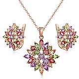 #5: Jewels Galaxy Crystal Elements Sparkling Colors 18K Rose Gold Plated Floral Designer Splendid Pendant Set For Women/Girls