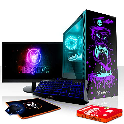 Fierce Gobbler RGB Gaming PC Bundeln - Schnell 3.5GHz Quad-Core Intel Core i5 7400, 2TB Festplatte, 8GB 2400MHz, NVIDIA GeForce GTX 1070 8GB, Tastatur (VK/QWERTY), Maus, 24-Zoll-Monitor 833639