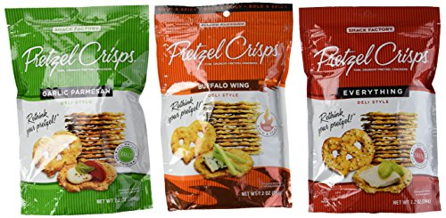 Snack Factory Deli Style Pretzel Crisps 3 Flavor Variety Bundle: (1) Everything, (1) Garlic Parmesan, and (1) Buffalo Wing, 7.2 Oz. Ea. -