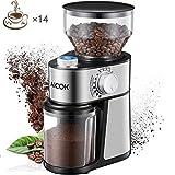 AICOK Molinillo de café eléctrico de 18 Grados Fino a Grueso Configuración de 14 Tazas de...