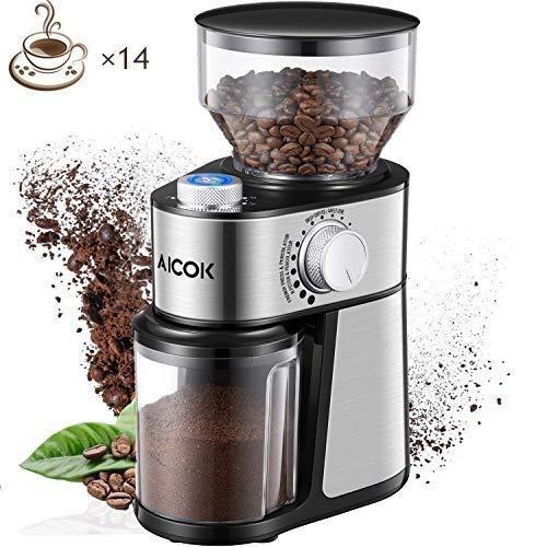 AICOK Molinillo de café eléctrico de 18 Grados Fino a Grueso Configuración de 14 Tazas de Molinillo...