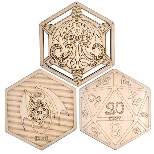 D&D Dekorative Holzuntersetzer Cool & Unique Table Mug Mats Laser Gravur mit Drachen D20 und Cthulhu (3er Set)