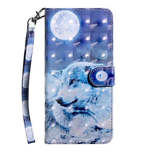Cover Galaxy A40, Bear Village Custodia in Pelle, 3D Painted Magnetico Cover con Gratuito Pellicola Vetro Temperato, Carte Slot Credito per Samsung Galaxy A40 (#8 lupo)