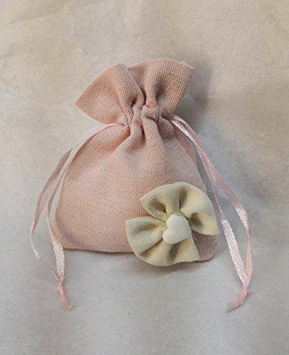 Pochon à dragées, en toile de jute de couleur rose, orné d'un nœud en jute et d'une craie en forme de cœur, avec ficelles coulissantes de fermeture - Motif pour fille - Idéale pour bonbonnières de naissance, communion ou baptême. kit 48 pz. senza confetti