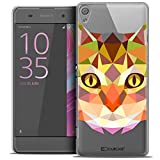 Caseink - Coque Housse Etui pour Sony Xperia XA [Crystal HD Polygon Series Animal - Rigide - Ultra Fin - Imprimé en France] - Chat