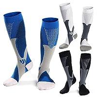 3 Paris Medical&Athletic Compression Socks Men Women, Sports Socks for Running,Basketball,Soccer,Traveling,15-25 mmHg