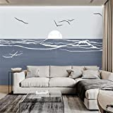 3D Non Woven Wallpaper Nordic Wind Tv Background Wall Paper Living Room Decoration Wallpaper Small Fresh Sea Gull Mural 8D Video Wall Cloth,   120Cm*100Cm