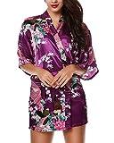 Avidlove Donna Vestaglie scollo a V Kimono da notte in raso