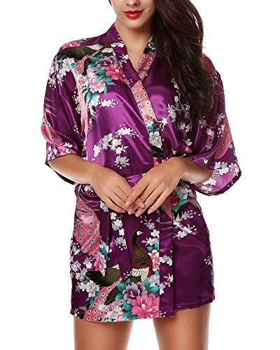 Avidlove Damen Morgenmantel Kimono kurz Satin Hausmantel (Schlafanzüge Kurze Flanell)