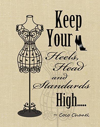 ArtDash? Keep Your Heels, Kopf und Standards Hoch ~ Wand Kunstdruck W/Zitat von Coco Chanel 8