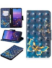 Nadoli 3D Brieftasche Hülle für Huawei P20 Pro,Modisch Bunt Malerei Entwurf Pu Leder Wallet Tasche Flip Cover für Huawei P20 Pro,Blau Schmetterling