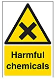 vsafety Schilder 6a020au-r schädlichen Chemikalien Achtung Substanz und chemische Zeichen, 1mm starrer Kunststoff, Portrait, 200mm x 300mm, schwarz/gelb