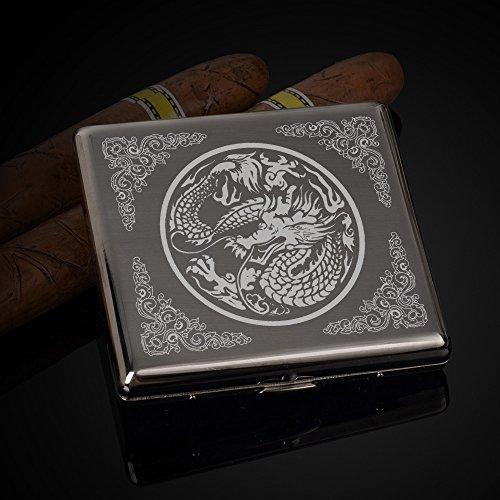 Zigaretten-Etui mit geschnitztem Drachen und Phönix aud Kupfermaterial für 20 Zigaretten.