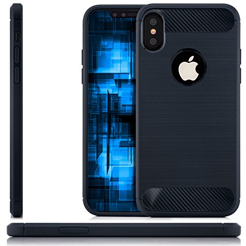 zanasta Hülle für Apple iPhone X - TPU Silikon Case Back Cover Premium Schutzhülle Brushed Metallic Design Handyhülle Dunkelblau Dunkelblau