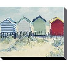 Jane Hewlett Suffolk casetas de playa lienzo impresiones, poliéster, multicolor, 40x 50cm