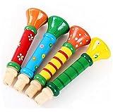 Instruments De Musique Best Deals - Hosaire 1Piece Sifflet Trompette en bois Instruments de Musique Jouets pour Enfants-Couleur aléatoire