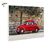 Magnettafel Pinnwand mit Motiv Oldtimer Retro VW Käfer rot Größe 60 x 80 cm