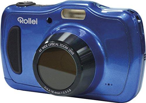 Rollei Sportsline 100 - vielseitige Digitalkamera mit 20 MP, 4-fach optischem Zoom, spritzwasserfest und wasserdicht bis zu 10 Meter mit Foto-Zeitraffer-Funktion - Blau Lcd 230k