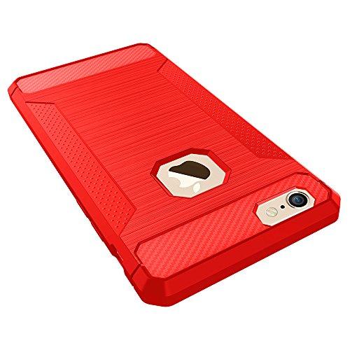 UKDANDANWEI iPhone 6 / 6s Hülle,Rutschfest Super Schild Hohe Gel Silikon Haut Slim Fit Zurück Schale Abdecken Schutzhülle Case Cover für iPhone 6 / 6s - Lila Rot