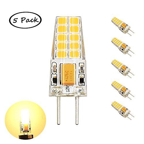 12v Bi-pin Glühlampe (Bonlux 3W G6.35 LED Birne 2-Stifte Warmweiß 3000K AC/DC 12V Bi-Pin LED Glühlampe Verwendung zur Schreibtischlampe, Landschaftsbeleuchtung, Dekoration (5-Stück))